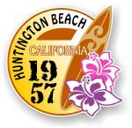 Huntington Beach 1957 Surfer Surfing Design Vinyl Car sticker decal  95x98mm